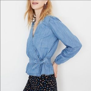 Madewell Tops - Madewell Denim Peplum Wrap Top Small